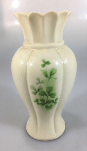 """Irish Parian Donegal China Mulroy Vase 4012 Ivory Shamrocks 7 1/2"""""""