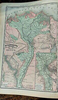 Vintage 1896 ~ EGYPT ~ Old Antique Original 14x21 Atlas Maps