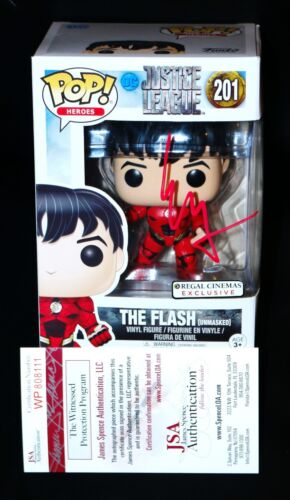 Ezra Miller Autograph Funko Pop Flash Justice League JSA PSA 201 WITNSS Unmasked