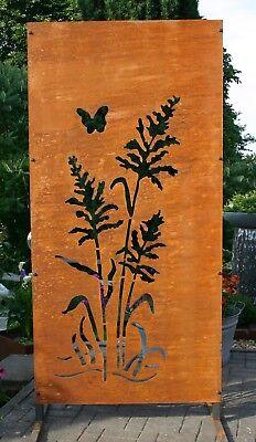 Sichtschutz Edelrost Metall Garten Muster Gräser und Schmetterling Art.1706 Schmetterling Muster