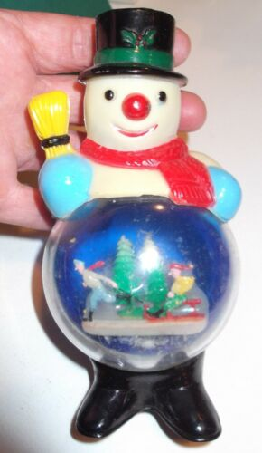 "Vintage Snowman Snow Globe Christmas Kids Skater Sleigh Hard Plastic 6"" Tall"