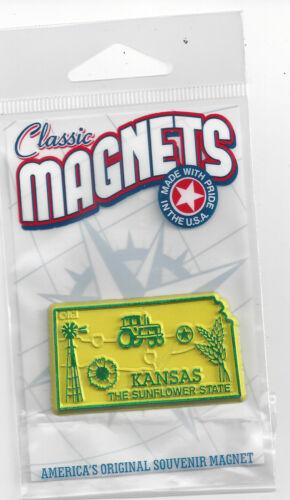 "KANSAS  ""THE SUNFLOWER  STATE""    OUTLINE MAP MAGNET in Souvenir Bag, NEW"