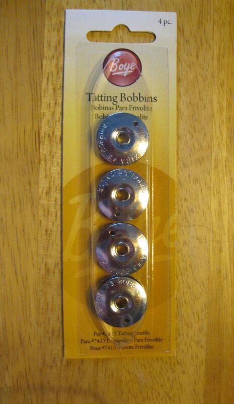 4 BOYE METAL #3 TATTING SHUTTLE BOBBINS