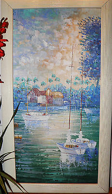 Oil Painting Canvas Boats On Lake Listed Artist Signed Amion Framed 16 X 28  Obo
