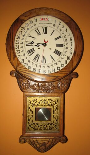 BRISTOL CLOCKWORKS NEW YORK CALENDAR WALL REGULATOR CLOCK 8-DAY, TIME/STRIKE