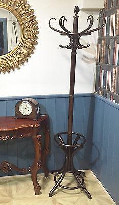 Wooden Mahogany Coat & Hat Stand Umbrella Clothes Hook Traditional  Bentwood