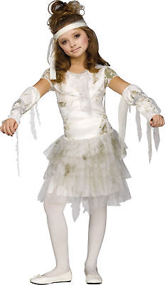 Mummy Dress Up (Mummy Child Girls White Costume Tattered Skirt Halloween Fancy Dress Up)