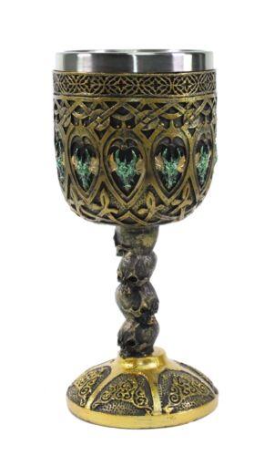 Bronze Royal Dragon Wine Goblet Skulls Medieval Collectible Home Decor Gift