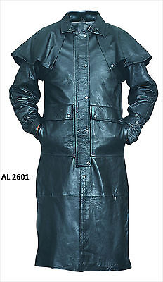Mens Black Soft Light Weight Buffalo Leather Motorcycle Biker Duster