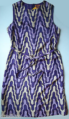 NWT Tory Burch Graphic Print Silk Shift Dress in Purple Size 10