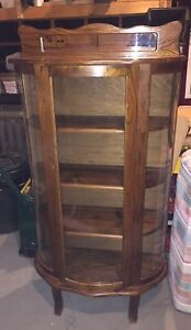 Antique Solid Wood PRISTINE CONDITION Curved Glass Curio Cabinet