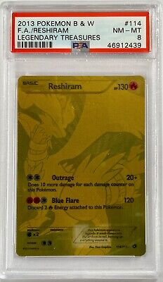 2013 Pokemon B&W Legendary Treasures RESHIRAM 114/113 Secret Rare PSA 8