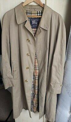 Men's Vintage Classic Beige Burberry Mac Trench Rain Coat Jacket Size XL