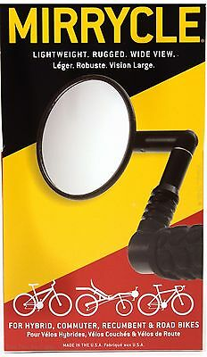 "Mirrycle Bar End Rear View Safety Mirror 3"" Convex Lens fits MTB Commuter Bikes"