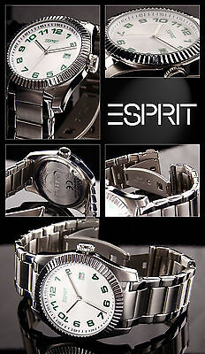 Elegant Men's Watch Esprit Stainless Steel Easy to Read Box Papers Green Numbers