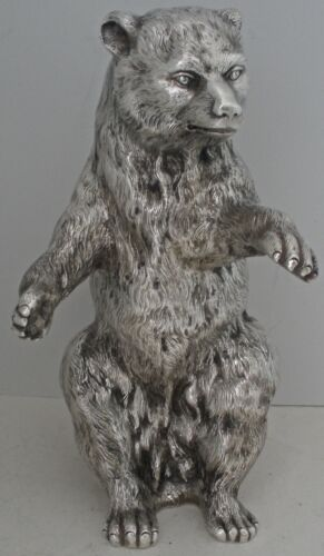 GORGEOUS GERMAN HOLLOW 800 SILVER FIGURAL SEATED BEAR STATUE 37.3 OZT C. 1900