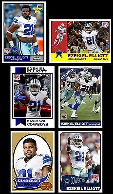 2016 SET of 6 Ezekiel Elliott Rookie cards Dallas Cowboys New Star Rookie
