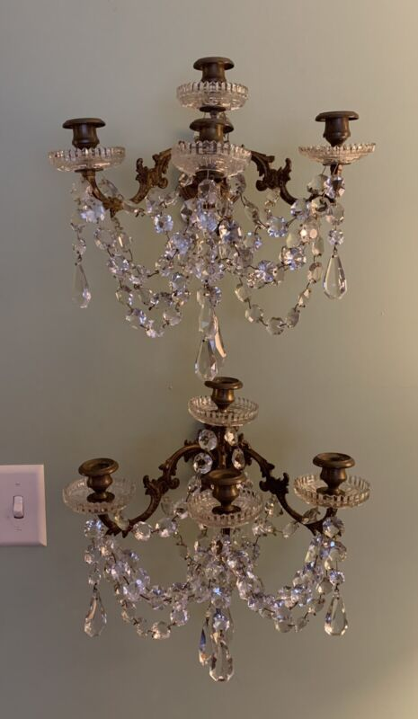 Pair Antique Bronze & Crystal Prism Wall Sconces Drippy French 4 Candle