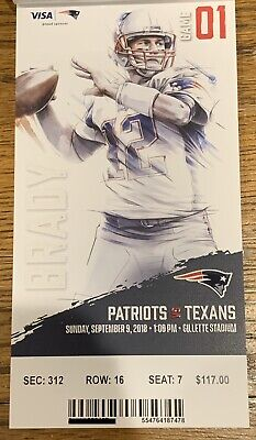 September 9 2018 New England Patriots Vs. Houston Texans Ticket Tom Brady
