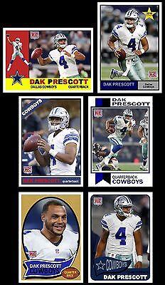 2016 SET of 6 Dak Prescott Rookie cards Dallas Cowboys New Star Rookie