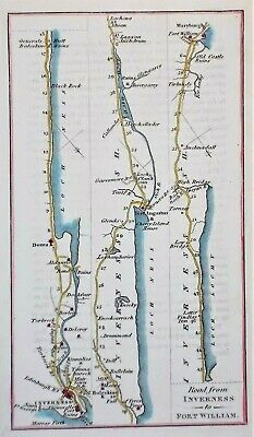 OLD ANTIQUE ROAD MAP INVERNESS to FORT WILLIAM c1824 SCOTLAND by J THOMSON & Co