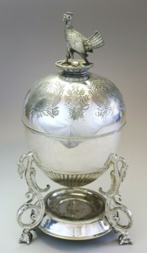 IMPORTANT Dated 1877 Figural SILVER PLATE EGG CODDLER Chicken, Nest, Eggs Finial