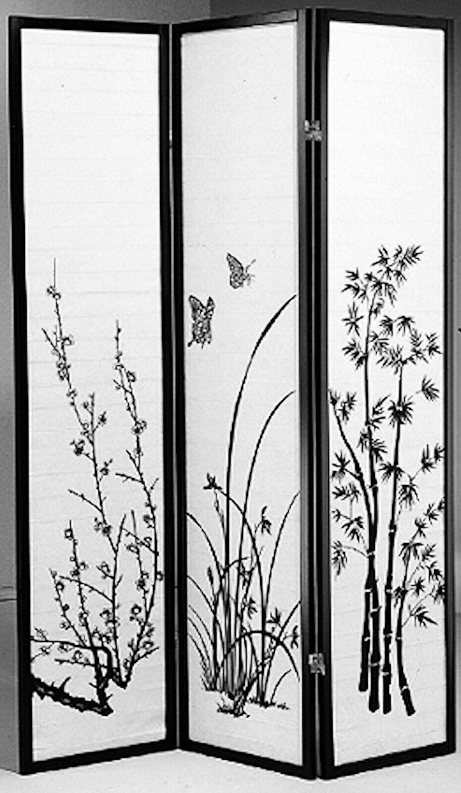 8, 6, 4 & 3 Panel Bamboo Print Wood Shoji Room Divider Scree