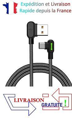 Câble chargeur rapide Samsung USB-C Type C angle 90° LED 5V 2.4A...