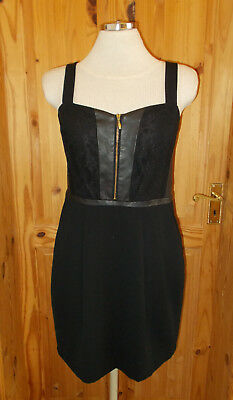 OASIS black faux leather lace party evening dress Steampunk Victoriana 12 38