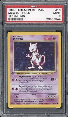 1999 Pokemon GERMAN 1st Edition Base Set Mewtu-Mewtwo Holo 10/102 PSA 9 MINT
