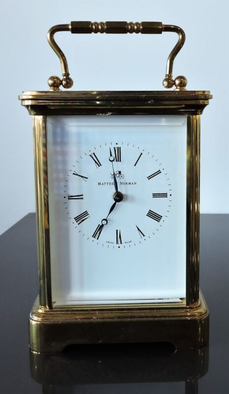Vintage Matthew Norman Carriage Clock  - Swiss made Mvmt - Key Included