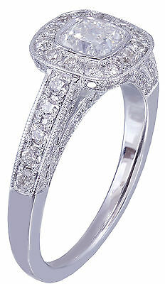 GIA D-SI1 14k White Gold Cushion Cut Diamond Engagement Ring Bezel Deco 1.70ctw 5