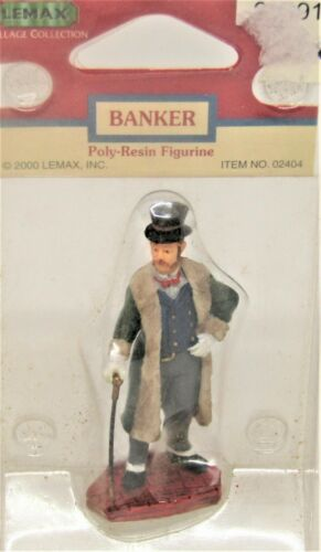 """Lemax, Village Collection, 2000, Poly-Resin Figurine, """"Banker"""".  New.  Rare, # 0"""