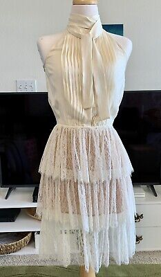 MSRP $2995 MICHAEL KORS IVORY TIERED/LAYERED LACE DETAIL DRESS SIZE 2 XS