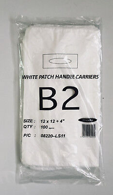 50 Strong Plain White Patch Handle Plastic Carrier Bags 12x12x4''