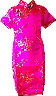 Asia Kinder Qipao/Geisha-Kostüm/Kleid Fasching/Cosplay Dress Pink - Geisha Kleid Kind Kostüm