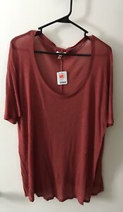 Urban Outfitters Women's Red Scoop Neck Shirt