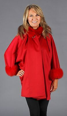 Red 100% Pure Cashmere Hooded Cape With Fox Fur Trim, SALE](Red Cape With Hood)