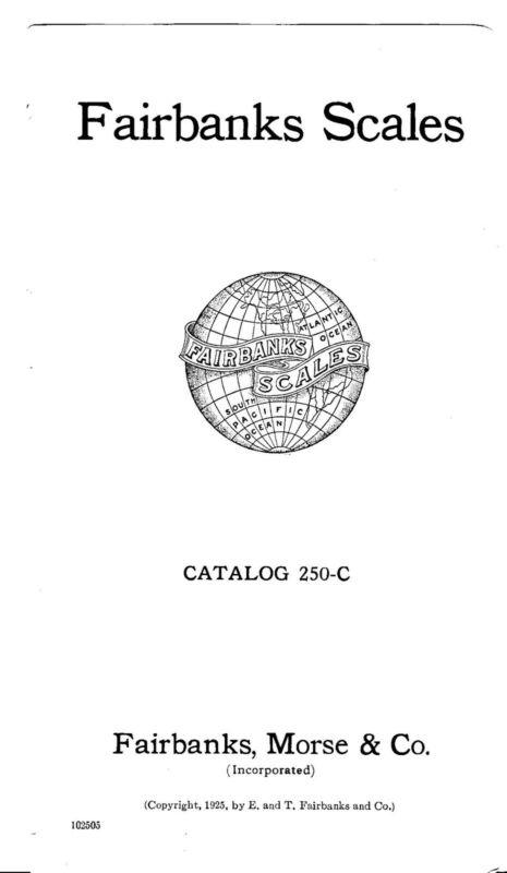 Fairbanks Scales Catalog  1925