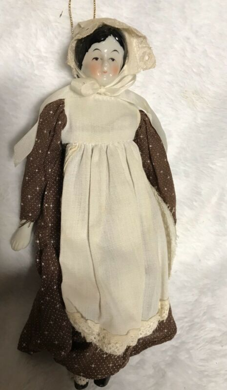 Vintage-Collectible Silvestri- Doll/Ornament-with Dress Bonnet Apron