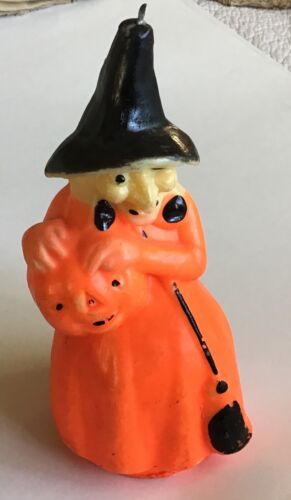 """Large 8"""" Unused Vintage Halloween Gurley Witch Candle"""
