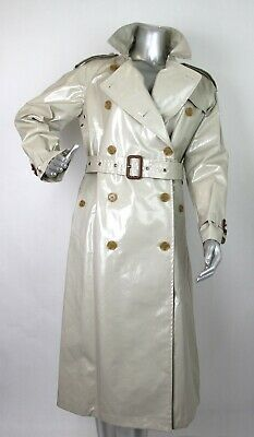 $2395 Burberry Women's Stone Beige Patent Canvas Trench Rain Coat 4067815 Canvas Trench Coat