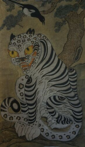 Large Antique Korean MinHwa Folk Hand Painting BeakHo White Tiger Magpie