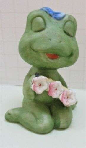 Vintage Bisque Sweet Frog With Blue Bow, Closed Eyes & Applied Flowers Figurine