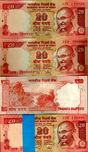 2012 India 20 Rupees Bundle Serial 999901-1000000 Uncirculated