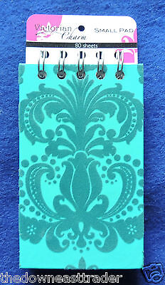 Victorian Charm Small Spiral Note Pad 80 Sheets 3 X 5 Fancy Teal Felt Design