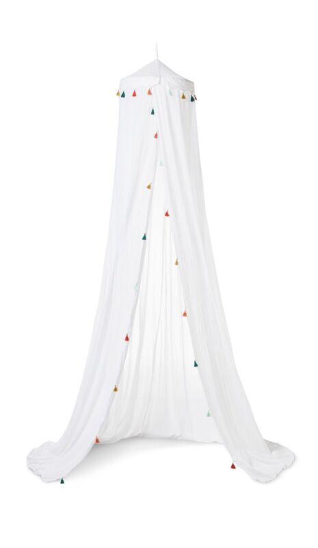 Pillowfort Tassel Bed Canopy White Trim New
