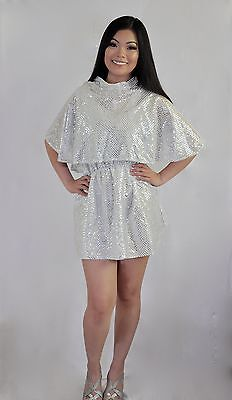 Beautiful Angel Costumes (1950's  ADULT SILVER DRESS GREASE BEAUTY SCHOOL DROP OUT DANCE ANGEL COSTUME  )