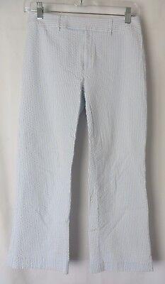 Grace Dane Lewis Seersucker Crop Pants Blue White Size 2 #6072 Grace Crop Pant