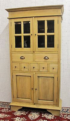 Antique Style Country French Bevel Glass Solid Wood Stripped Kitchen Cabinet